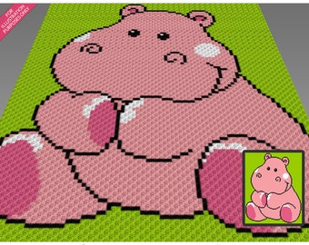 Baby Hippo crochet blanket pattern; c2c, cross stitch; knitting; graph; pdf download; no written counts or row-by-row instructions