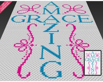 Amazing Grace crochet blanket pattern; c2c, cross stitch; knitting; graph; pdf download; no written counts or row-by-row instructions