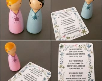 Worry Doll - hand-painted wooden peg doll with original poem - perfect for anxious children or those who have trouble sleeping - fret-me-not
