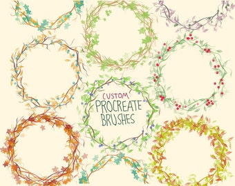 Procreate custom brushes, Wreath maker, instant download