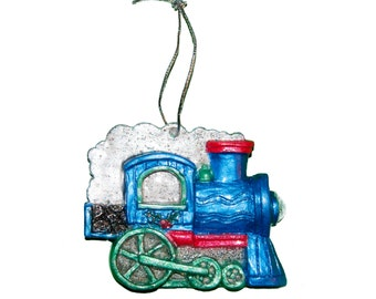 Blue Train Engine Christmas Tree Ornament