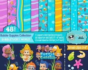 INSTANT DOWNLOAD|| Bubble Guppies Clipart Bundle ||Papers AND cliparts ||48 elements: 37 cliparts + 11 papers||
