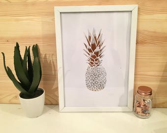 Rose Gold Pinapple Print With Frame Included
