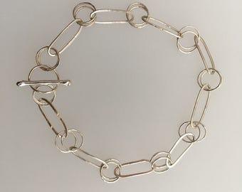 Sterling Silver 2:1 hammered link bracelet