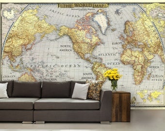 vintage world map, wallpaper world map, earth map mural, self-adhesive vinly, vintage wall mural, vintage map wall mural, old map wallpaper
