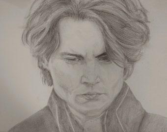 Pencil Drawing of Johnny Depp, Wall Art