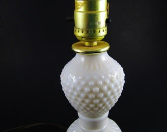 Vintage Milk Glass Hobnail Electric Lamp