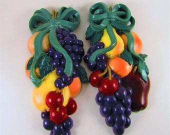 2 Vintage Fruit Berry Wall Hangings, Burwood Products, Home Interior, Homeco, Cherries, Grapes, Peaches, Apples, Pears