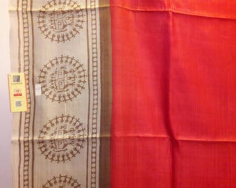 Handwoven Kosa Silk / Tussar Silk Saree with tribal motifs - Free shipping in US