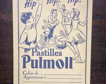Advertising textbook of Lafarge laboratories for Pulmoll pastilles. Illustrations of Rol. The 1960s. french vintage!