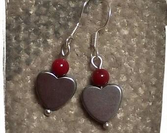 Hematite heart earrings