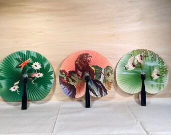 Set of Three Vintage Paper Fans