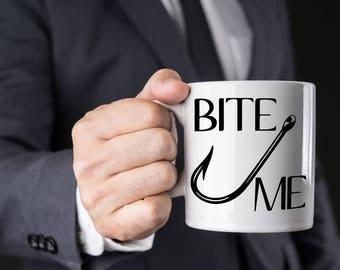 Funny Fishing Gift, Bite Me Coffee Mug