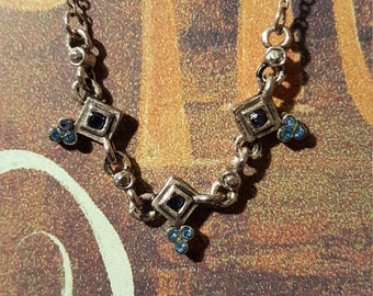 BLUE/SILVER BEADED Necklace - very simple & classy!