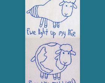Two Bluework Kits - Ewe Light Up My Life and Ewe Are My World