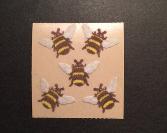 Sandylion vintage very rare 1986 fuzzy brown back bee stickers
