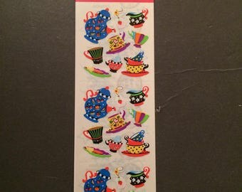 Sandylion vintage rare kromekote funky tea set sticker strip