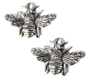 2pc, Bumble Bee Charm, Pewter