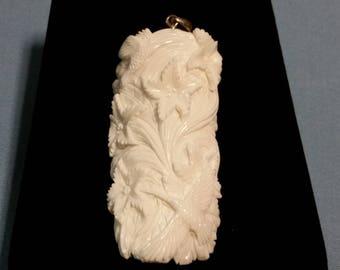 Carved Bone Pendant, Hummingbird Design, Sterling Silver