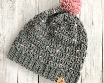 Tiny hearts slouchy crochet beanie, crochet fair isle beanie, fair isle beanie, grey and pink crochet slouchy beanie