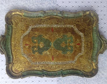 Vintage wooden tray, gold, green and red.