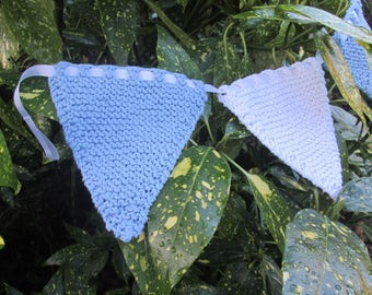 Handknitted bunting in pale blue and white