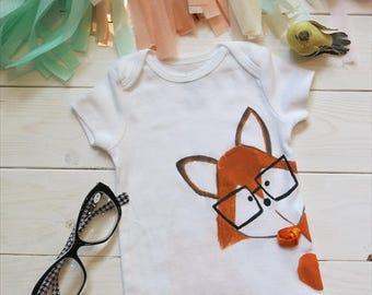 Fox Baby bodysuit,  Boho Baby Clothes, It's a Boy, Fox Costume, Whimsical Fox Bodysuit, Fox Baby Clothes, Baby Girl Boy Fox, Bohemian Baby