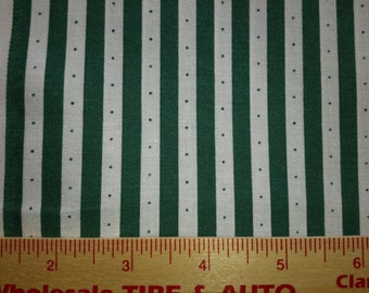 Green and White Stripe Cotton Fabric