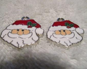 Set of 2 Santa Claus Christmas Charms