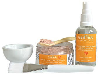 French Pink Clay Face Mask with Organic Aloe Vera and Orange Blossom Hydrosol