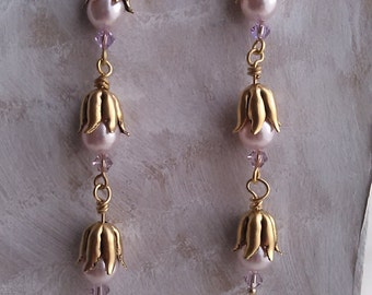 Statement earrings, copper, gold, pink