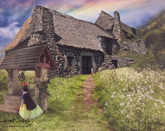 Fairytale Cottage Digital Backdrop - Snow White - Hansel & Gretel - Princess Sessions - Woodlands - Enchanted Forest - Photo Background Prop