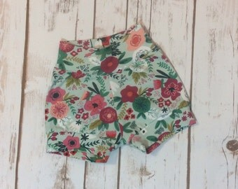 Modern Baby Shorts | Mint Floral | Riley Blake Cotton Knit | On Trend