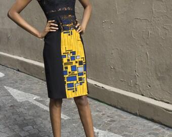 ZEINA centered yellow-black dress