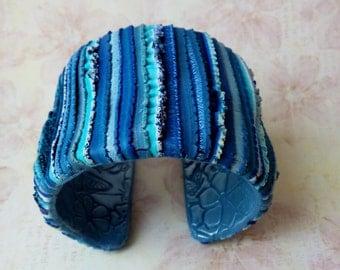 Charm Bracelet, cuff clay bracelet Cuff Bracelet Polymer Clay Cuff, Handcrafted , Blue Bracelet, White bracelet, Turquoise bracelet