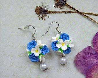 Blue Dangle Earrings flowers polymer clay, Earrings flowers, Flower Jewelry, Statement Earrings, Polymer clay Earrings, Wedding jewelry