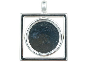 Silver Plated Square Pendant with 15mm Cup