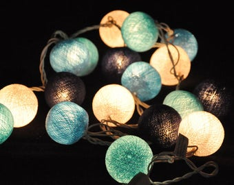 35 Blue Cotton Ball 13 Feet Fairy Lights String Wall Plug Party Patio Wedding Garland Hanging Gift Home Bedroom Decor Indoor Decorative
