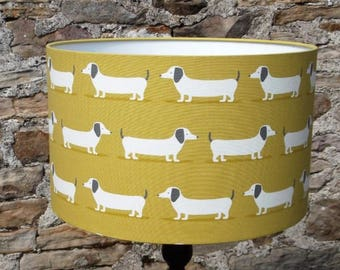 Fryetts Hound Dog fabric lampshade in Ochre