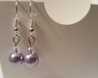 Pearl earrings for wedding Lavender pearl earrings Purple wedding jwwelry Purple pearls Purple bridesmaid gifts Purple bridesmaid earrings