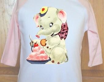 Vintage Elephant Shirt, Toddler Elephant Shirt, Childs Elephant Shirt, Kids Elephant Shirt, Elephant Eating Ice Cream, Elephant Lover Shirt