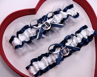 New Navy Blue White Wedding Garter Prom GetTheGoodStuff