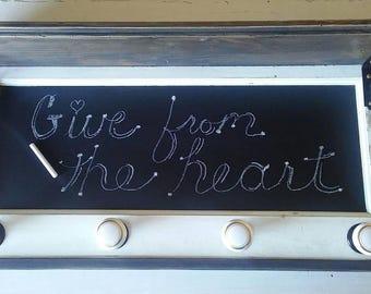Reclaimed wood wall decor shelf chalkboard coat rack hat rack