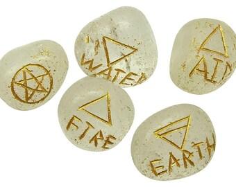 Set Of 5 Elemental Quarter Stone, Spiritual Energy Generator Quartz Stone, Reiki Healing Natural Gemstone, With Gift Pouch HCDR467J