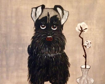 """Table painting """"The cotton flower dog"""""""