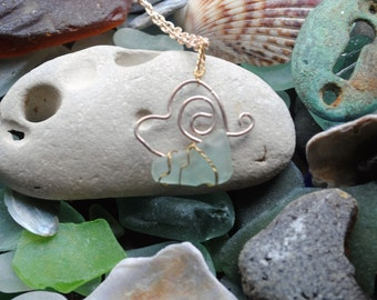 Frosted blue Seaglass Butterfly Pendant
