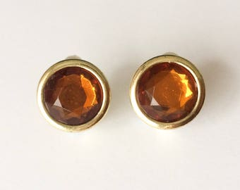 Vintage 1950's Amber Brown Orange Autumnal Faceted Round Clip On Statment Earrings