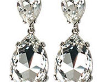 Lady Ga Ga Inspired Crystal Pear shape drop earrings.