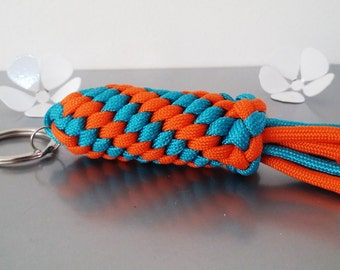 Paracord with secret compartment Keychain in orange/turquoise tones