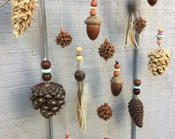 Driftwood Wall Hanging / Woodland Nursery Decor / Rustic Decor / Pine Cone Hanging / Driftwood Decor / Handmade Gift / Feather Hanging